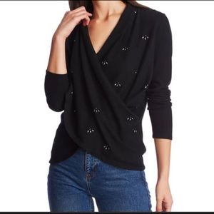 1.State embellished cross front knit top NWT
